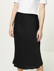 M&S Navy Silky Slip Skirt 12 Reg