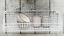 Wire Wall Shelf, 43cm, Antique White Shabby Chic Vintage French Style