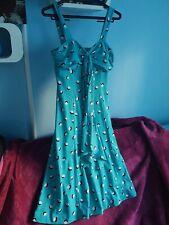 BLUE TURQUOISE Vintage LINDY HOP 50s 60s SWING SUMMER D L Barron DRESS 14 12