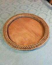 Handmade Cane-edged WOODEN FRUIT BOWL/Bread Basket/Tray (Large - 46cm). UNUSED.