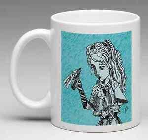 Alice in Wonderland 4 Coffee Mug Set - Alice Flamingo TIM BURTON Inspired 4 MUGS