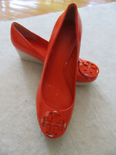 NEW TORY BURCH FIre Orange Patent Leather Wedge Shoes in Size 9 M