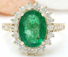 4.36 Carat Natural Emerald and Diamond 18K Yellow Gold Engagement Ring