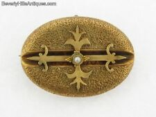 Antique Victorian 14k Gold & Pearl Brooch/Watch Pin Holder