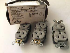 Lot of 10 Leviton CR20-GY, Gray, Duplex Receptacle, 20A, 125 V, USA