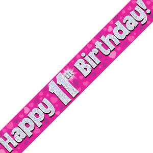 Pink Happy 11th Birthday Foil Party Banner Decoration Hearts Holographic Age 11