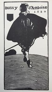 "Edward Gordon Craig c.1899 Woodcut ""Bussy d'Amboise 1580"""