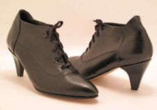 New Women Black Leather Ankle Heel Lace Up Pointy Toe Bootie Shoe Sz 4 M  Eur 35