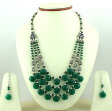 Natural Faceted Green Aventurine Gemstone Necklace & Earrings 74 Grams