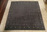 Charcoal Gabbeh Hand-Knotted Modern Area Rug Contemporary Oriental Carpet 10x10