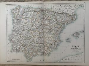 1897 SPAIN & PORTUGAL LARGE ORIGINAL ANTIQUE MAP A & C BLACK 123 YEARS OLD