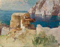 M.WIELANDT(*1863), Fischerhütte am Ufer bei Capri, 1895, Öl auf Leinwand