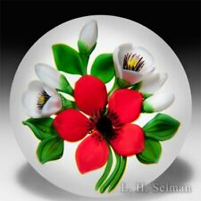 David and Jon Trabucco 1988 red flower with white blossoms glass paperweight