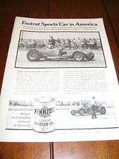 CADILLAC POWERED SPORTS CAR  ***ORIGINA 1961 AD*** PENNZOIL