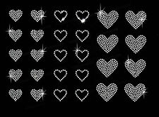 A set of 28 pieces of small hearts clear rhinestone hot fix iron on transfer