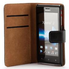Sony xperia J ST26i portafoglio protettiva custodia wallet case cover nero