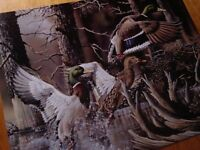 DUCKS UNLIMITED Mallards Flying on Forest Pond Lake Cabin Sign Home Decor NEW