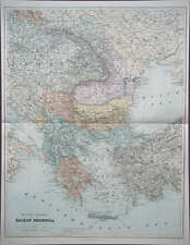 Péninsule balkanique Bosnie Croatie grande carte Stanford 1904
