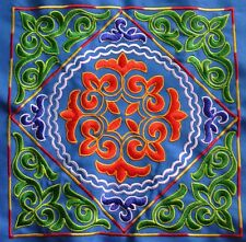 Chinese miao hmong machinemade tribal square embroidery Blue world 23086