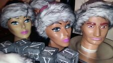 New ladies warm winter hats stylish fluffy 3 colours adult size pink taupe black