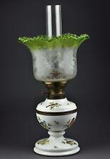 Antique 19th century MEISSEN porcelain oil lamp, kerosene lamp, handpainted bird