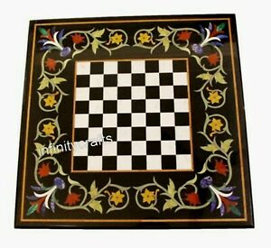 Marble Coffee Table Top Square Shape Inlay Game Table with Gemstones 16 Inches