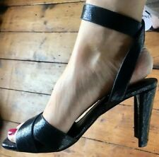 RRP£49 Office Shoes Sandals 5 Heels Ankle Strap Sexy Fetish Party Evening Glam