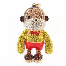 Year of the Monkey Yellow Keychain Crystal Charm Cute Animal Purse Gift 01304
