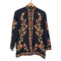 Kashmir India Floral Embroidered Black Wool Sherwani Jacket Pockets Button Front