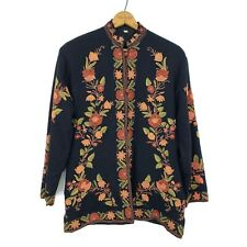 Kashmir India Floral Embroidered Black Wool Sherwani Jacket Pockets Button Front