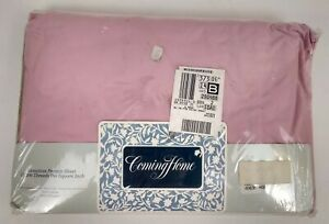 Twin Extra Long Fitted Sheet Pink Lands End Coming Home 50/50 Blend Percale New