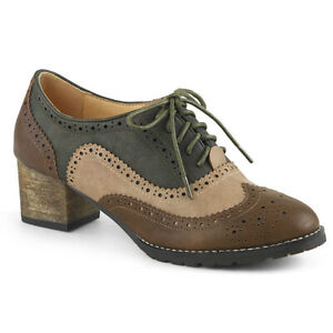 Pin Up Couture RUSSELL-34 Women's Brown Faux Leather Block Heel Spectator Oxford
