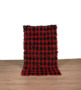 Vintage Shaggy Rug Carpet Kilim Berber Runner Handmade Cotton Red Color 6'X4'