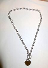 """Women's Stainless Steel Heart Toggle Necklace chain 18"""""""