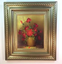 Beautiful Res Roses Oil Painting ( Artist Signed )