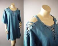 Plus Frayed Soft Denim Open Shoulder Lace Up Tie Neck Shift 272 mv Dress XL 2XL