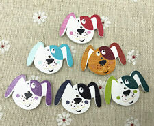 20X Mix Colours Dog shape 2-holes  Wooden Button Sewing Crafts Scrapbooking 33mm