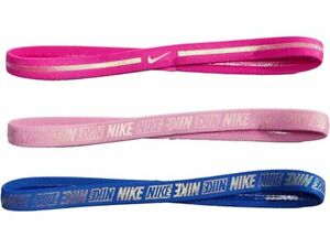 NEW NIKE Girl's Youth Metallic Pink Blue 3 pack Headbands Hairbands OSFM