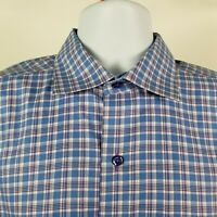 David Donahue Mens Blue Purple Check Plaid L/S Dress Button Shirt Sz Large L