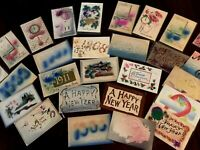 Lot of 27 Vintage ~AIRBRUSHED~Embossed ~Antique~NEW YEAR 1900's~Postcards-b705