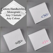 3 x Personalised Monogram White Cotton Handkerchiefs Custom Initials Name