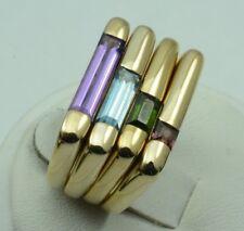 Kabana 14k Yellow Gold Four (4) Gemstone Rings Size 5.25