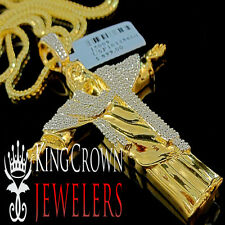 Mens Real Genuine Diamond Jesus Christ Pendant Full Body Charm 10K Gold Finish