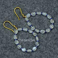 18K Solid Yellow Gold Moonstone No Heat Burmese Sapphire Diamond Earrings
