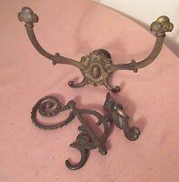 2 antique ornate Victorian 19th century cast iron wall rack holder coat hook
