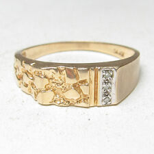 Mens Estate 10K Yellow Gold Three Single Cut Diamond Stone Design Ring 0.03 Cts