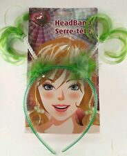 PIGTAIL NEON GREEN plastic HEADBAND with feathers