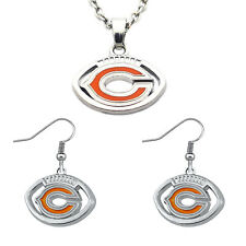 Chicago Bears Football Shaped Team Logo Necklace & Earring Womens Jewelry Set