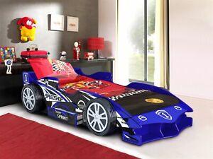KIDS SINGLE 3FT BLUE CAR BED WITH STORAGE DRAWER + MATTRESS OPTIONS CHILDREN'S