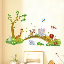 Best 3D Cartoon Jungle Wild Animal Tree Bridge Design Wall Sticker Room #V05